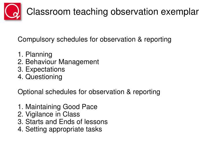 Classroom teaching observation exemplar
