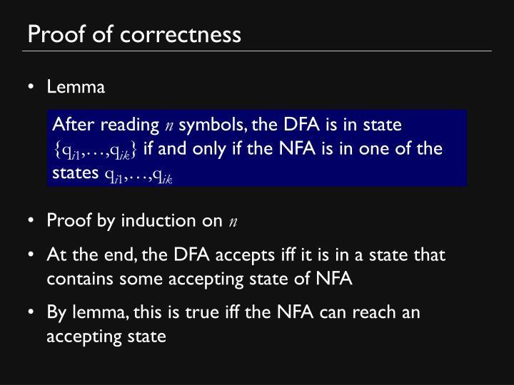 Proof of correctness