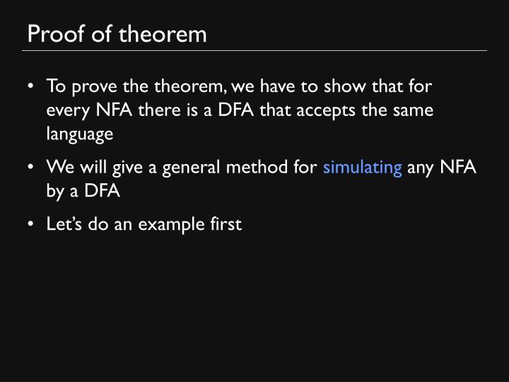 Proof of theorem