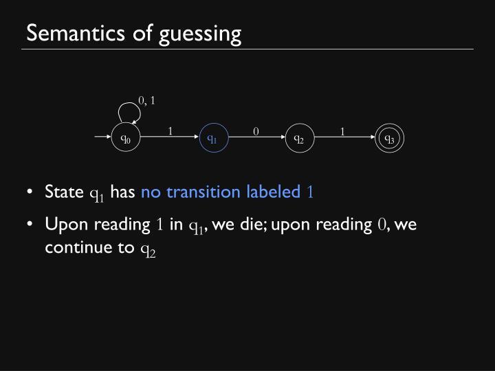 Semantics of guessing
