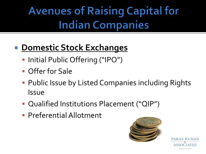 Avenues of Raising Capital for Indian Companies