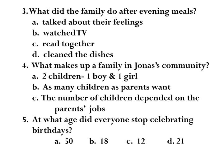 3. What did the family do after evening meals?