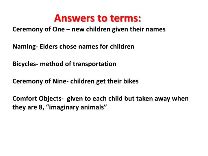 Answers to terms: