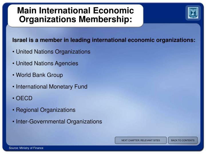 Main International Economic Organizations Membership: