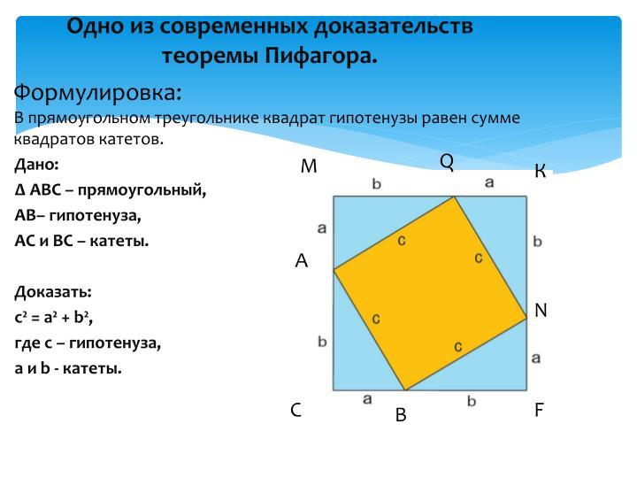 Одно из современных доказательств теоремы Пифагора.