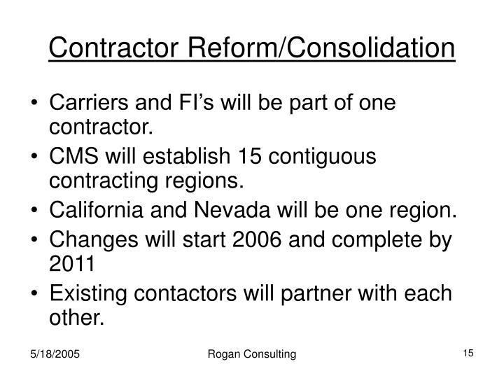 Contractor Reform/Consolidation