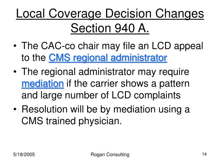 Local Coverage Decision Changes