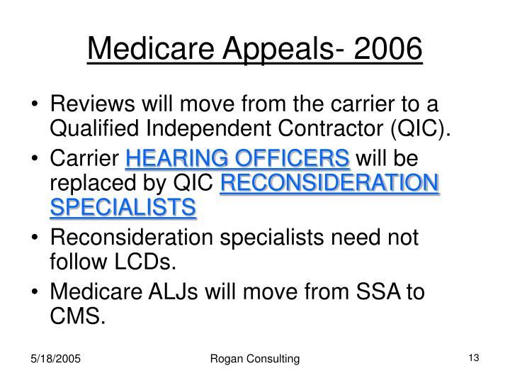 Medicare Appeals- 2006