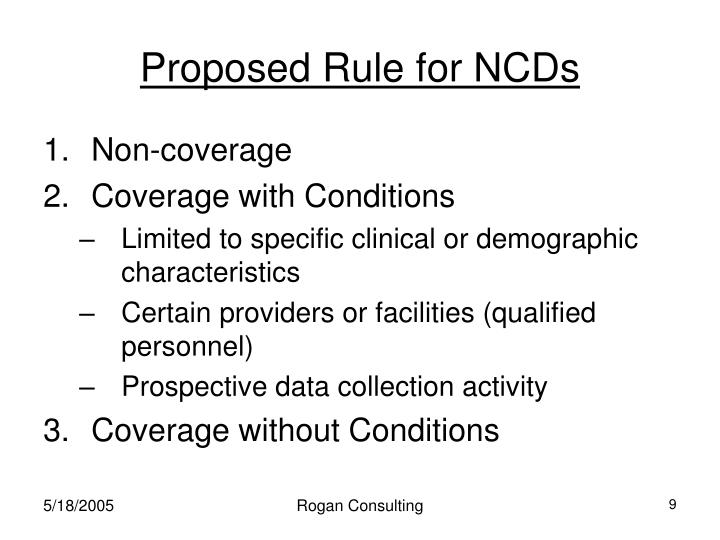 Proposed Rule for NCDs