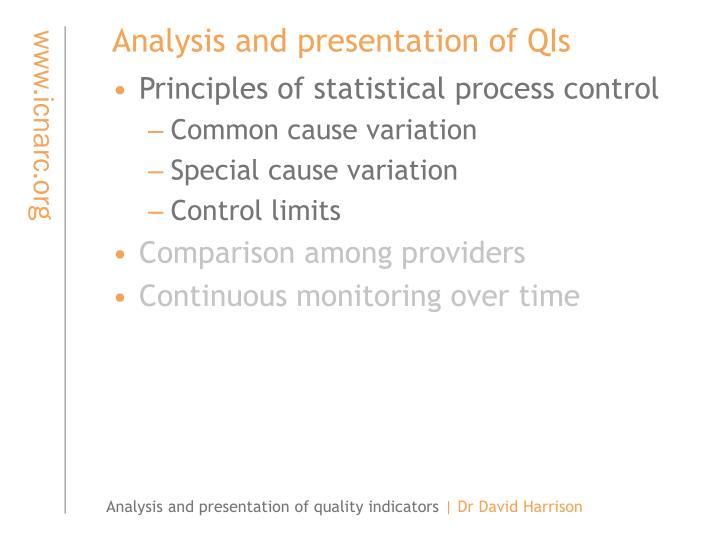 Analysis and presentation of QIs
