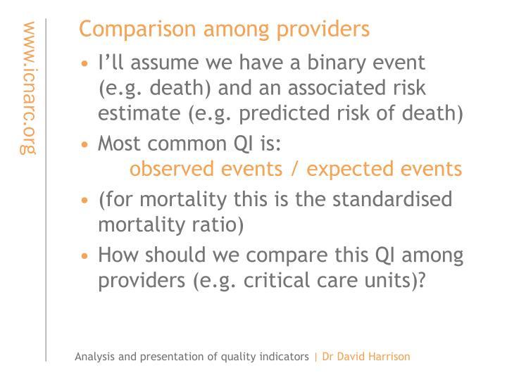 Comparison among providers