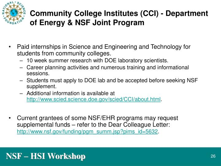 Community College Institutes (CCI) - Department of Energy & NSF Joint Program