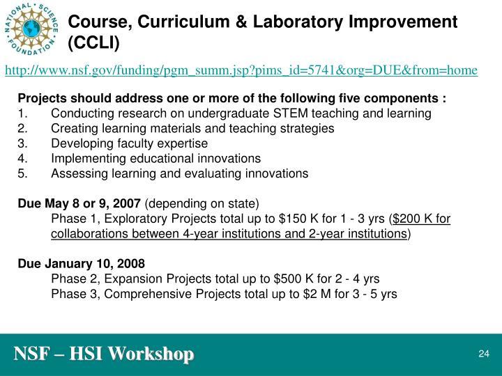 Course, Curriculum & Laboratory Improvement (CCLI)