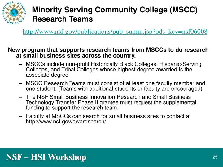 Minority Serving Community College (MSCC) Research Teams