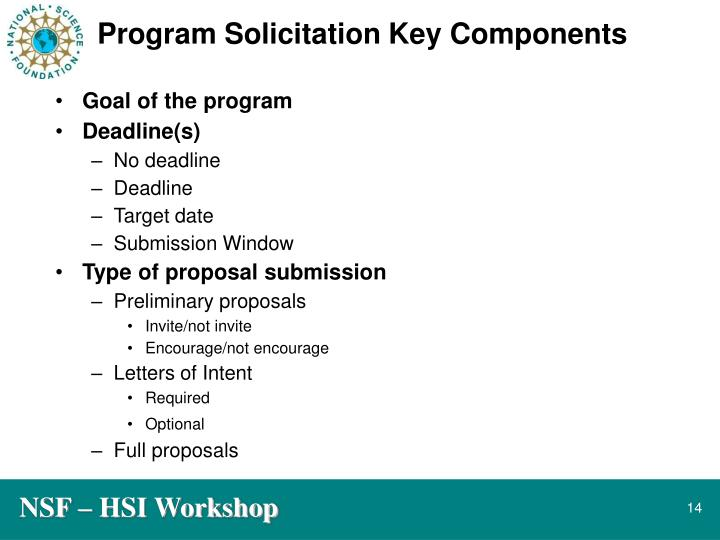 Program Solicitation Key Components