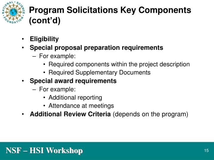 Program Solicitations Key Components (cont'd)