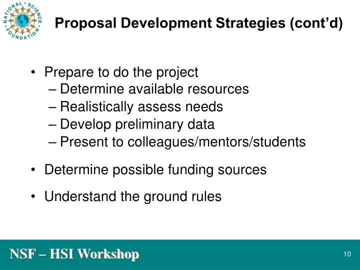 Proposal Development Strategies (cont'd)