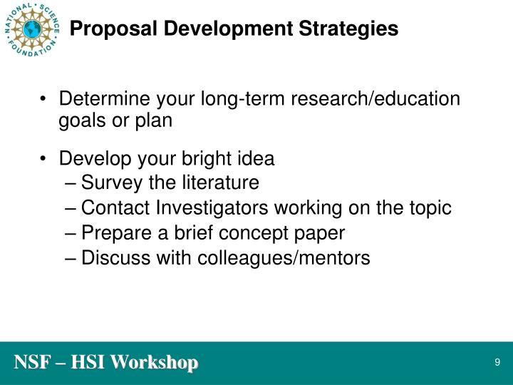 Proposal Development Strategies