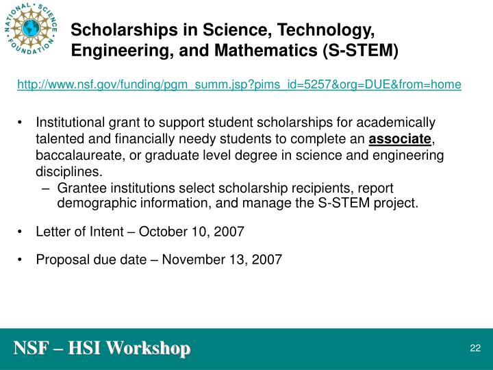 Scholarships in Science, Technology, Engineering, and Mathematics (S-STEM)