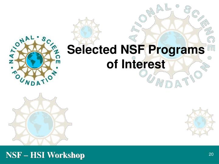 Selected NSF Programs of Interest