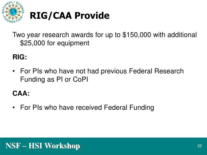 RIG/CAA Provide