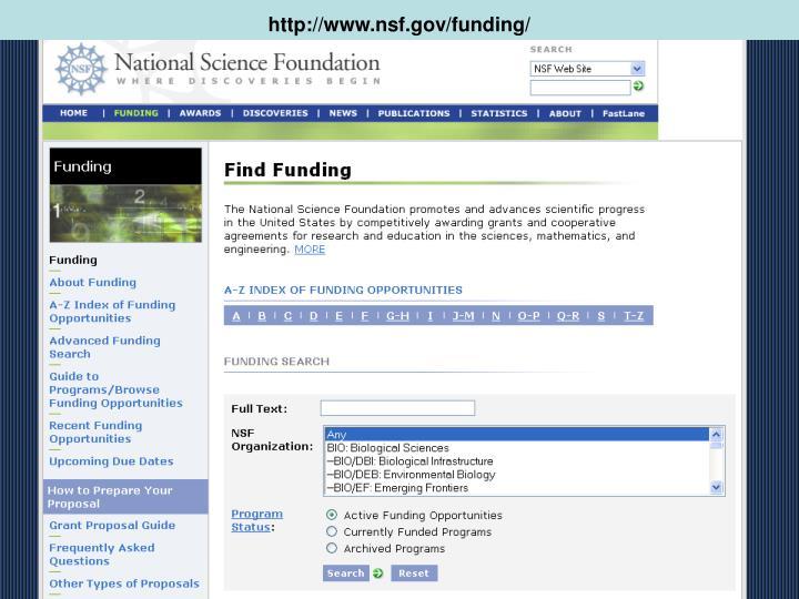 http://www.nsf.gov/funding/