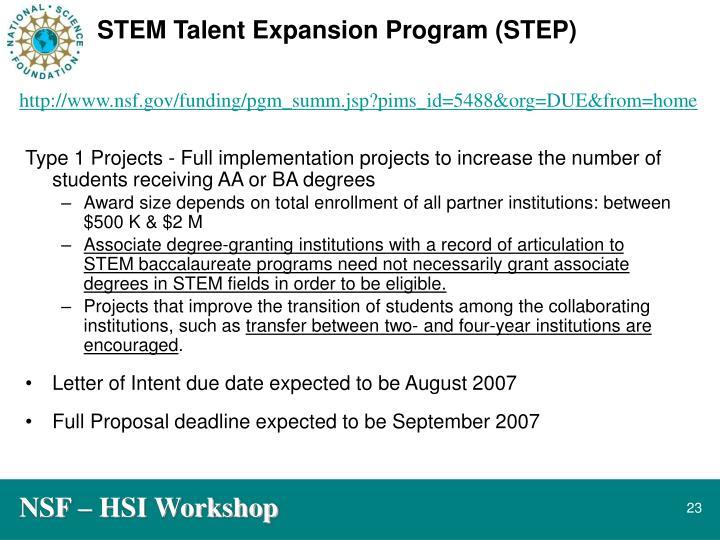 STEM Talent Expansion Program (STEP)