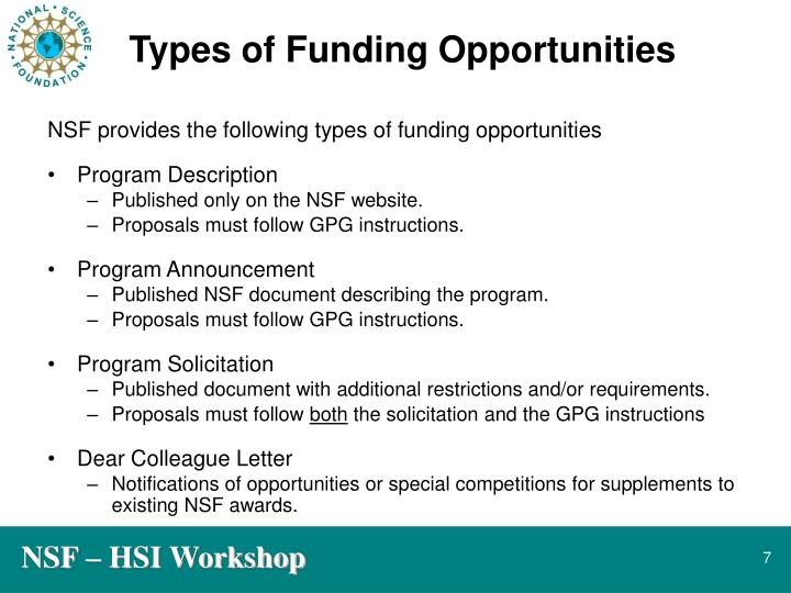 Types of Funding Opportunities