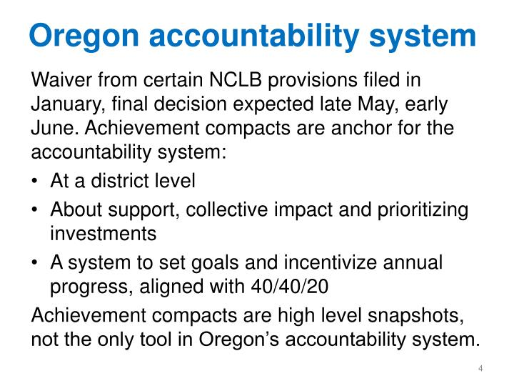Oregon accountability system