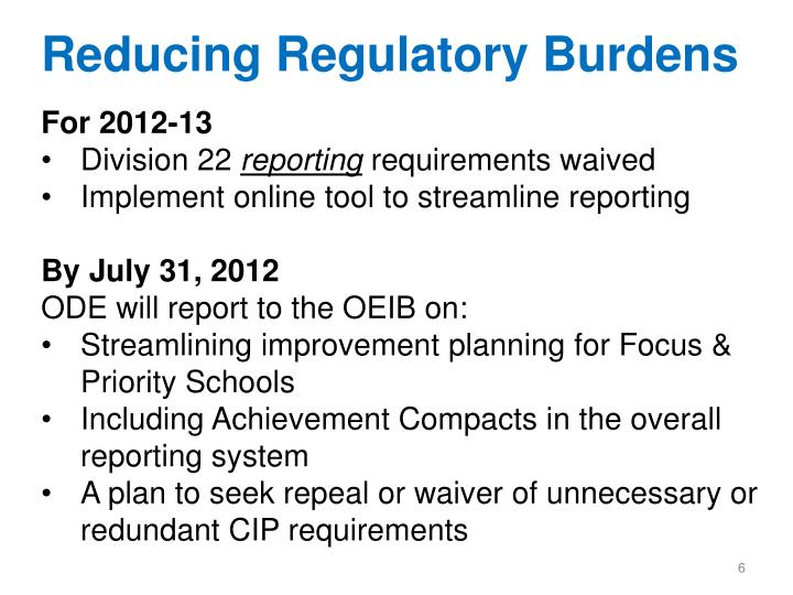 Reducing Regulatory Burdens