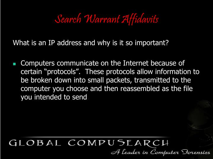 Search Warrant Affidavits
