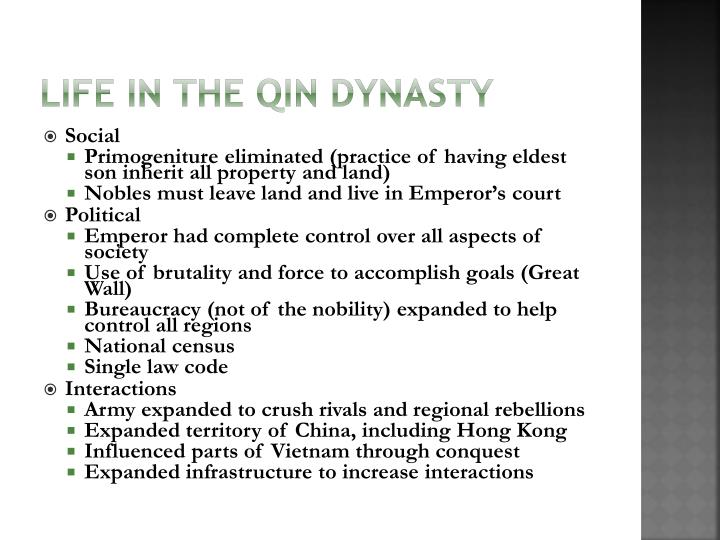 Life in the Qin Dynasty