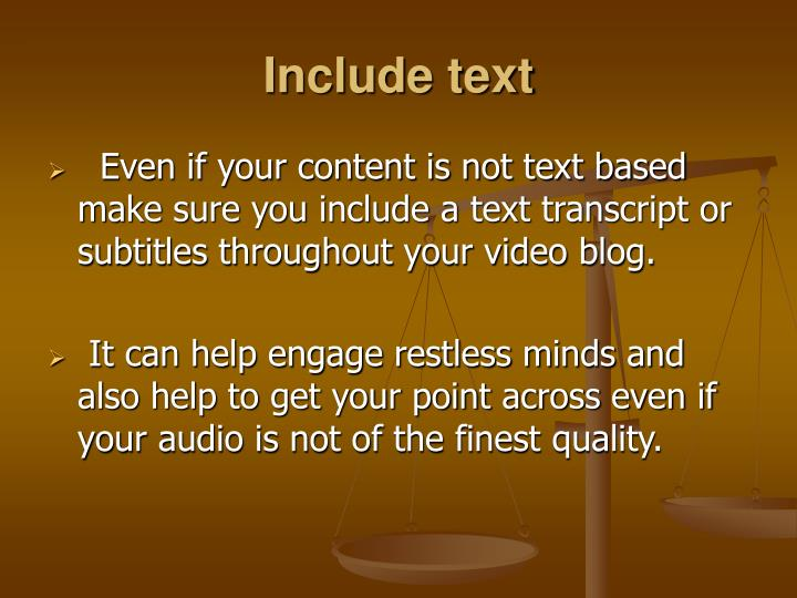 Include text