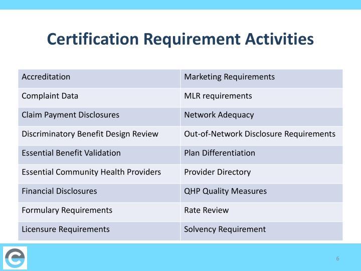 Certification Requirement Activities