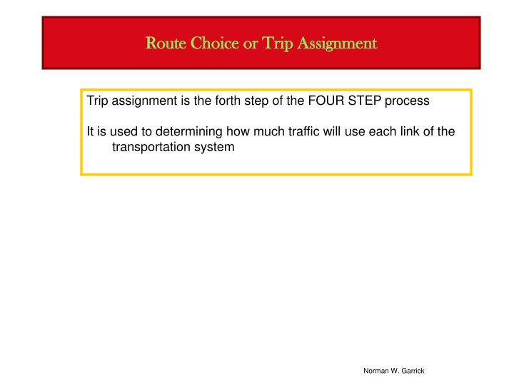 Route choice or trip assignment