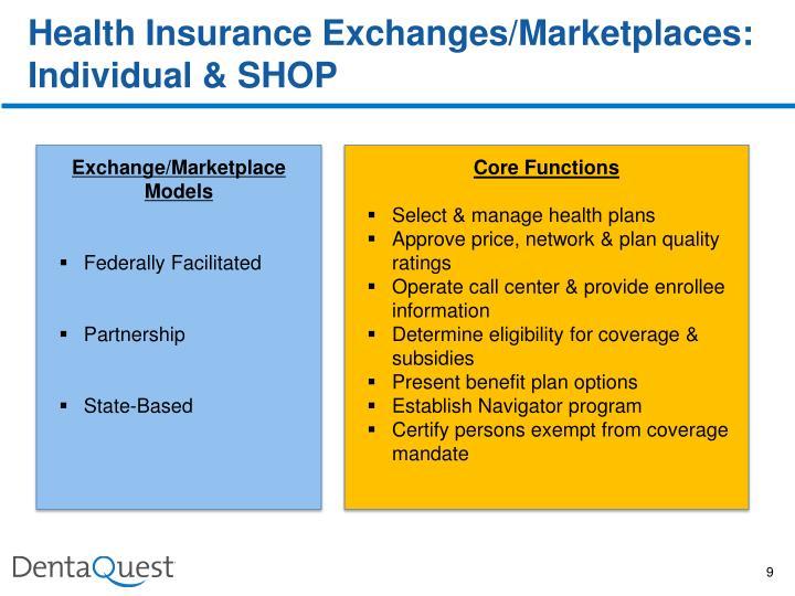 Health Insurance Exchanges/Marketplaces:  Individual & SHOP