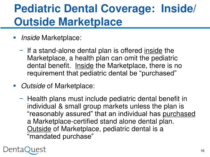Pediatric Dental Coverage:  Inside/ Outside Marketplace