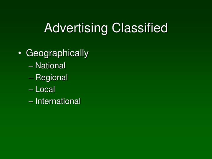 Advertising Classified