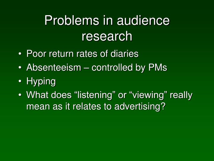 Problems in audience research