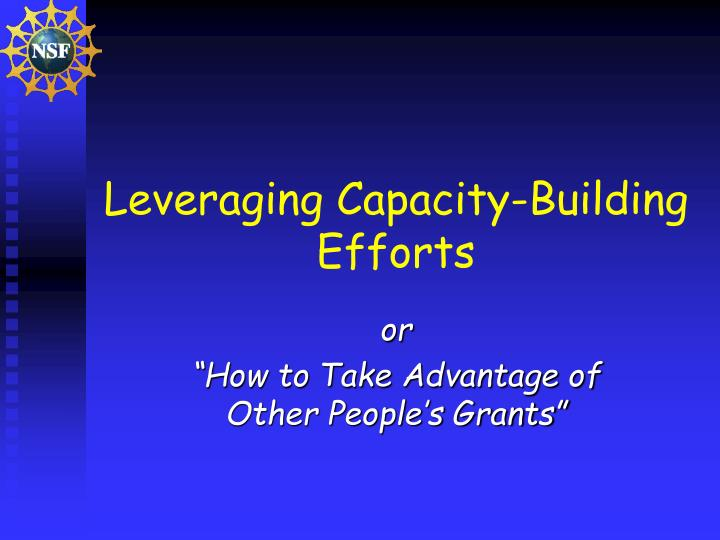 Leveraging capacity building efforts