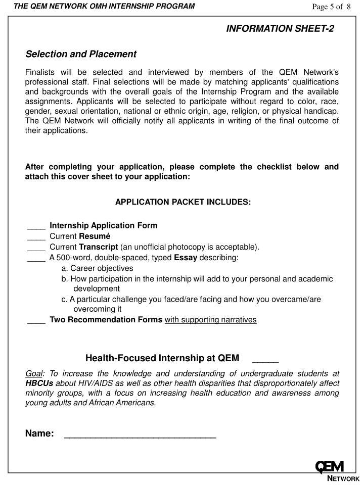 THE QEM NETWORK OMH INTERNSHIP PROGRAM