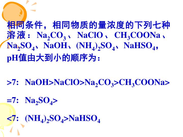 相同条件,相同物质的量浓度的下列七种溶液: