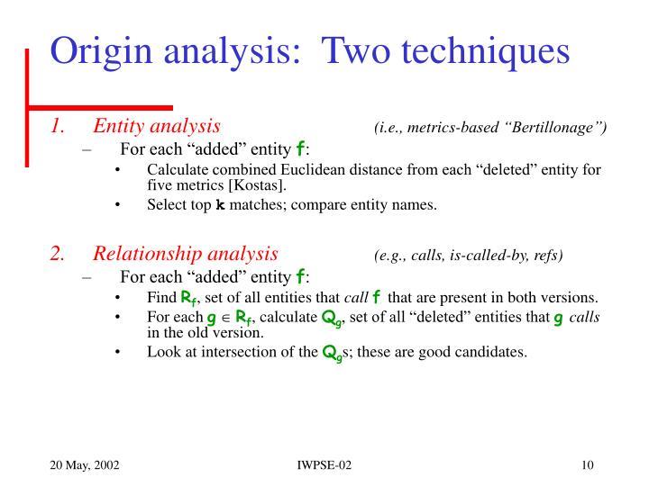 Origin analysis:  Two techniques
