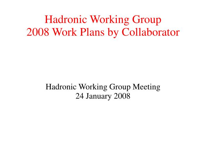 Hadronic Working Group Meeting