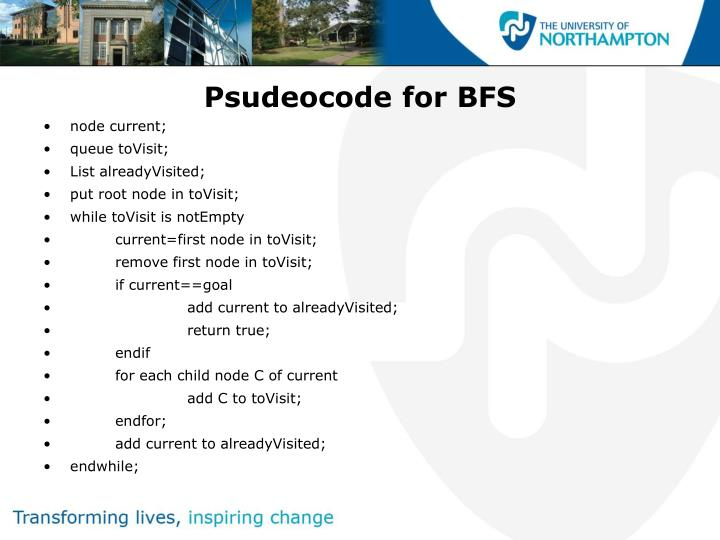 Psudeocode for bfs