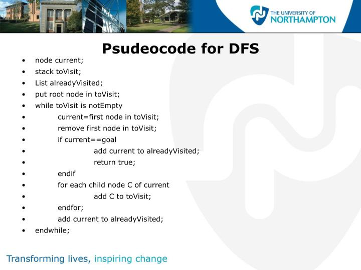 Psudeocode for DFS