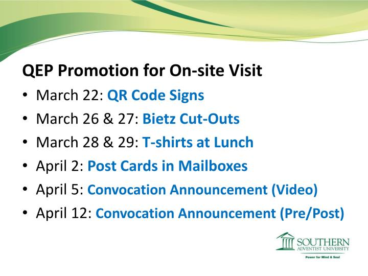 QEP Promotion for On-site Visit