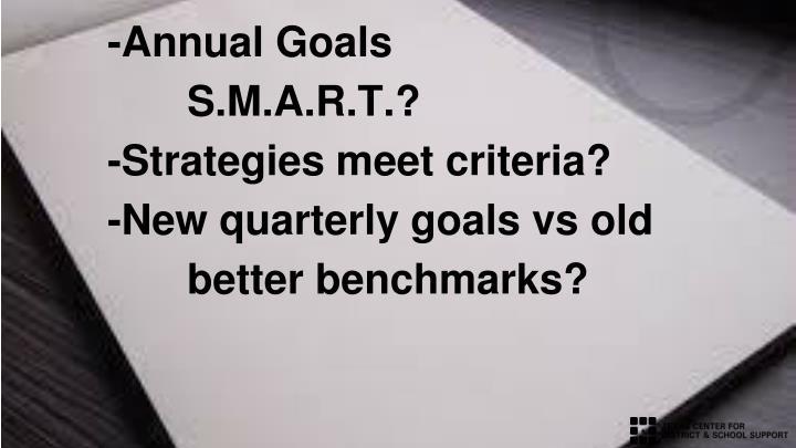 -Annual Goals