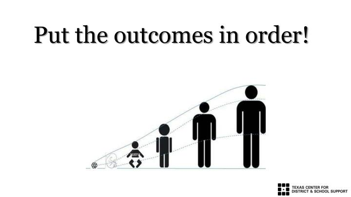 Put the outcomes in order!