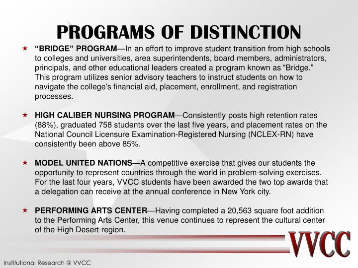 PROGRAMS OF DISTINCTION